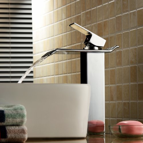 Lightinthebox® Contemporary One Handle Deck Mount Solid Brass Widespread Waterfall  Bathroom Sink Faucet Chrome Finish Tall Spout Bath Basin Faucet Lavatory ...