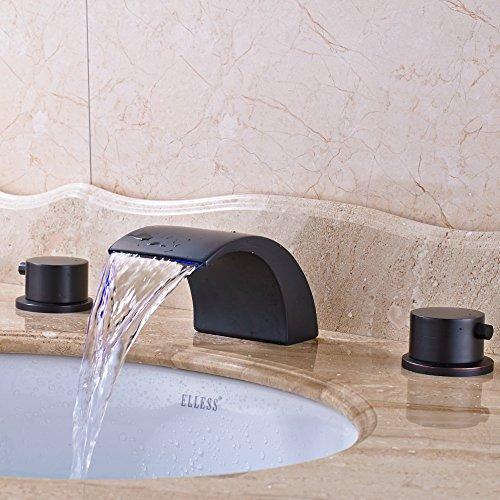 Senlesen oil rubbed bronze deck mount double handles led waterfall widespread bathroom sink for Oil rubbed bronze waterfall bathroom faucet