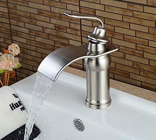 Beelee BL0602N Nickel Brushed Waterfall Bathroom Sink FaucetSingle Handle Single Hole Vessel Lavatory FaucetBasin Mixer Tap