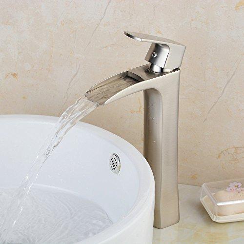 Hiendure Single Handle One Hole Soild Brass Bathroom Waterfall Vessel Sink Faucet Brushed Nickel