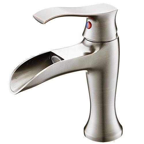 VAPSINT Beauty One Handle Brushed Nickel Bathroom Sink Faucet Waterfall Finish Vessel