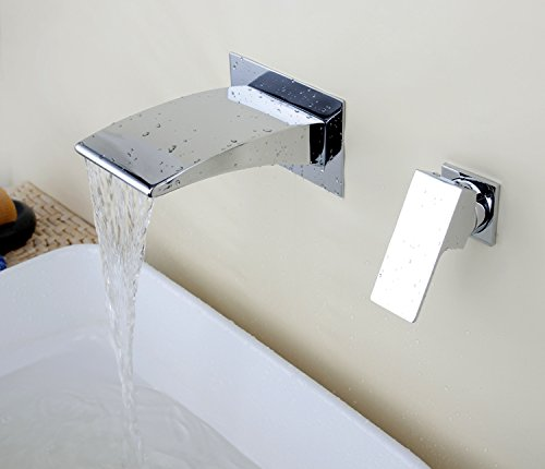 aquafaucet chrome wall mount widespread lavatory vanity waterfall bathroom sink tub faucet basin mixer tap