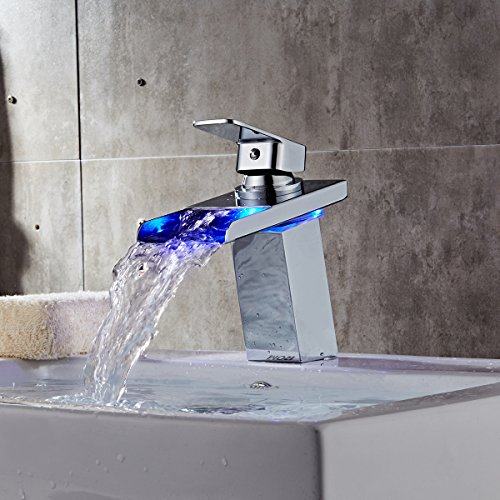 Tapcet led bathroom sink faucet waterfall faucet water for Water coming back up kitchen sink