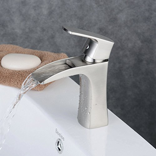 Attirant Beelee BL210D N Single Handle Single Hole Waterfall Bathroom Sink Faucet,  Brushed Nickel Finish
