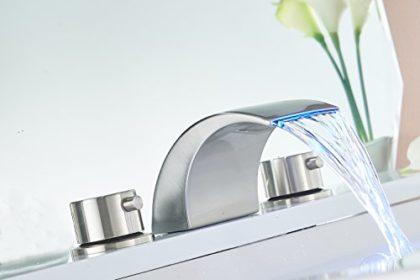 Greenspring LED Waterfall Bathroom Faucet Brushed Nickel